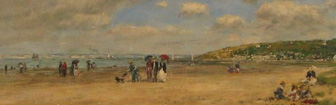 Coffee Lecture - The Beach at Tourgeville-les-Sablons by Eugene Boudin